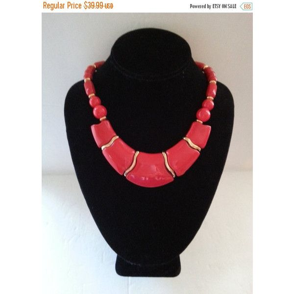 Holiday Sale Chunky Red Necklace, Vintage Statement Jewelry, 1960's... ($28) ❤ liked on Polyvore featuring jewelry and necklaces