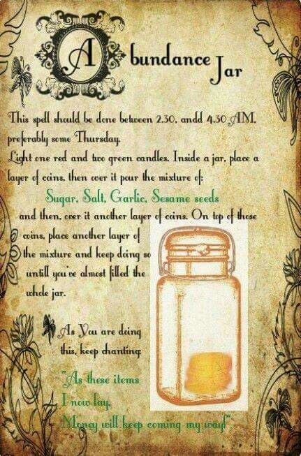 Abundance Jar Wiccan Spell Book Wiccan Spells Magick Spells