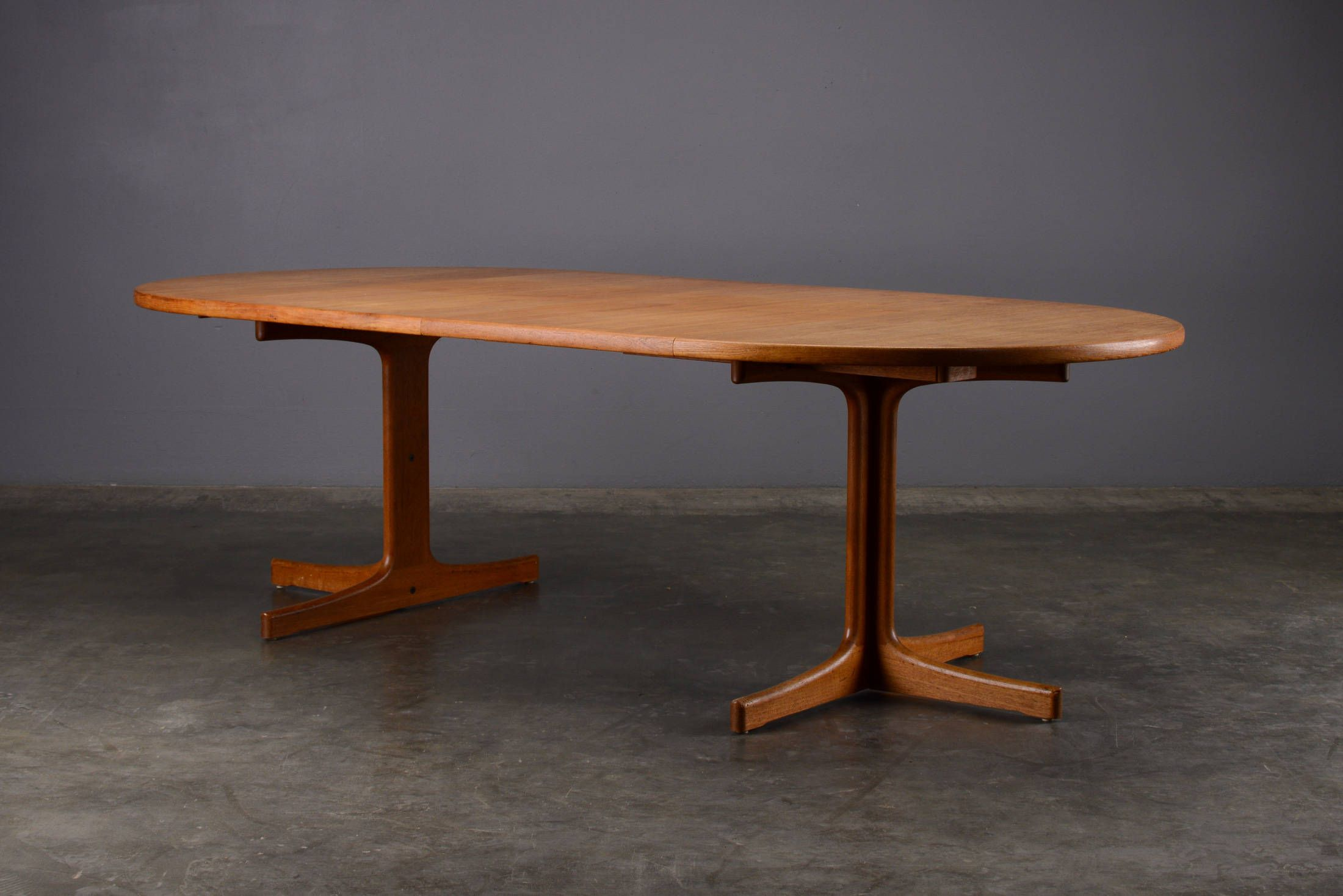 Mid century round oval dining table teak danish modern gary