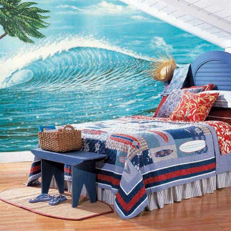 Hawaiian Style Bedroom: Hawaiian Surfing Style Bedroom Decorating Ideas For Kids