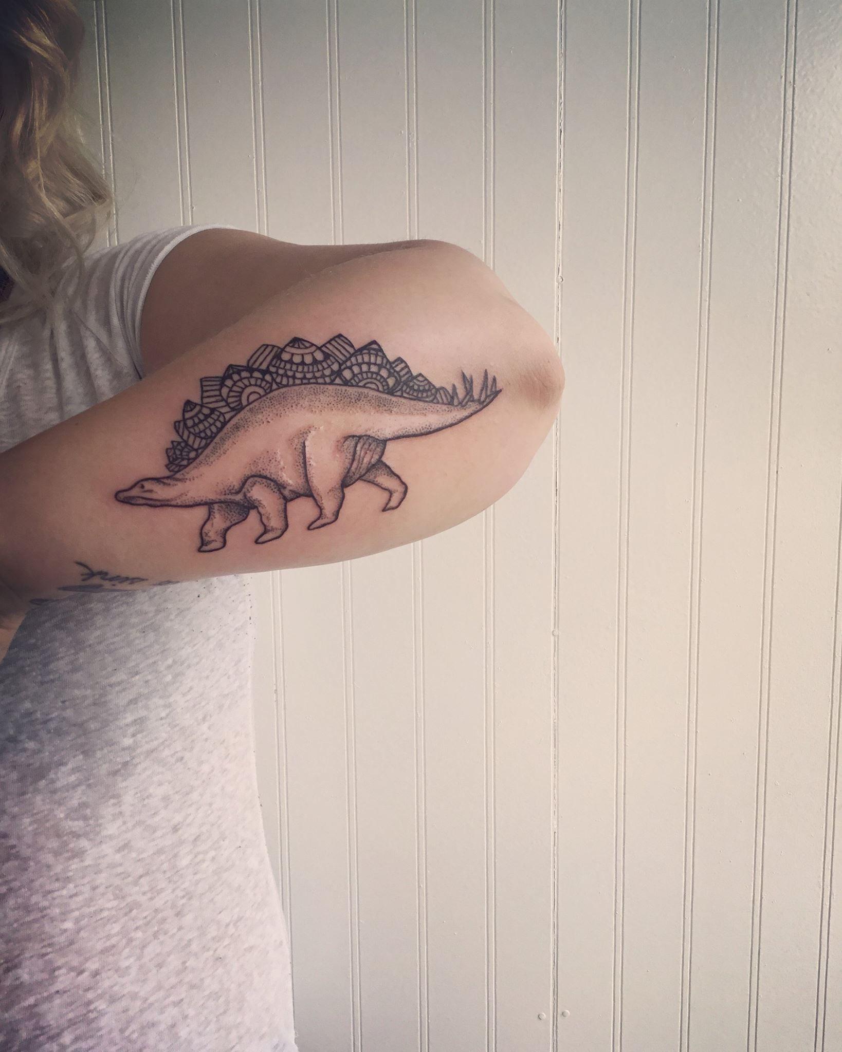 Stippling dinosaur tattoo by Casey Hart at Rose Red Tattoo Ellicott City MD #dinosaurtattoos
