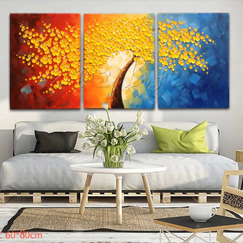 3 Pieces Panel Wall Art Palette Knife Hand Painted Flower Oil Mesmerizing Living Room Paintings Design Decoration