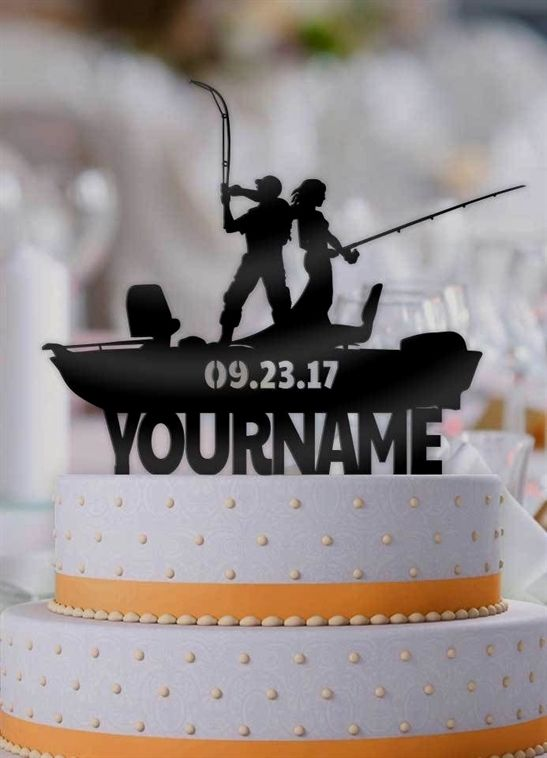 Personalized Fishing Hunting Couple with Name Wedding Cake Topper