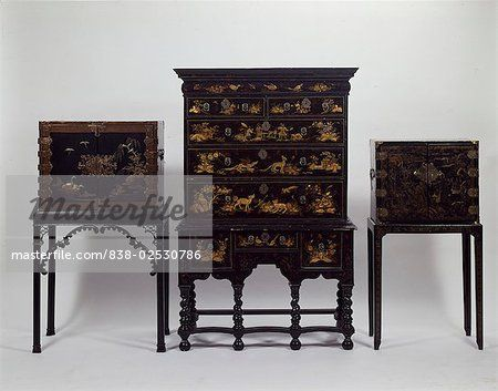 lacquered black and gold small secretary | antique japanese furniture, art,  black color, - Lacquered Black And Gold Small Secretary Antique Japanese
