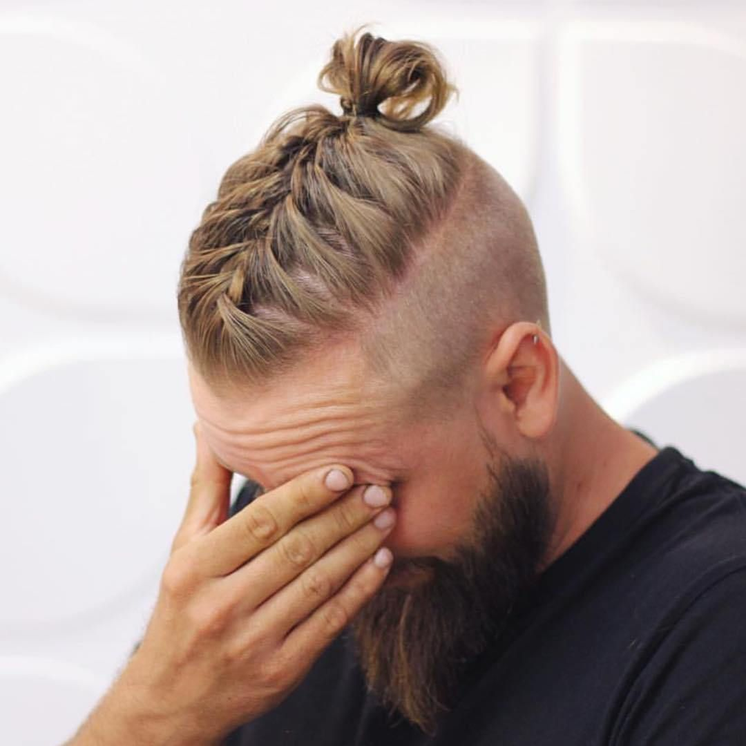 Men Long Hairstyles With Beards Men Braided Bun With Beard Men Bun