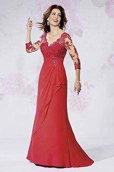 Sheath/Column V-neck Scalloped Sweep/Brush Train Chiffon Mother of the Bride Dress