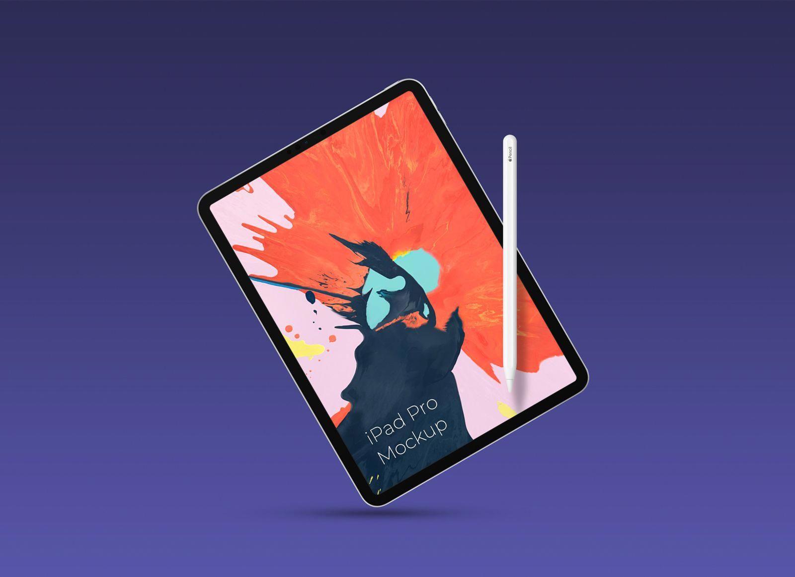 Free Ipad Pro 2018 With Pencil Mockup Psd Ipadpro Ipad Pro Ipad Free Ipad