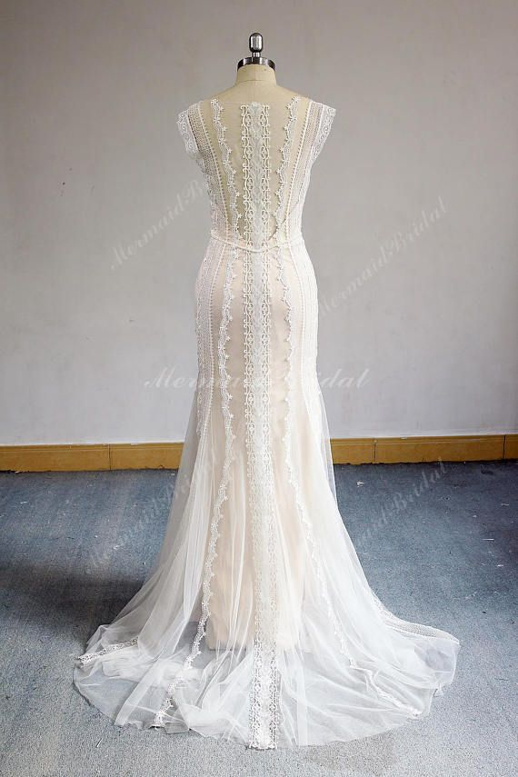 Romantic Open Back Fit and Flare Vintage Lace Wedding Dress, Boho ...