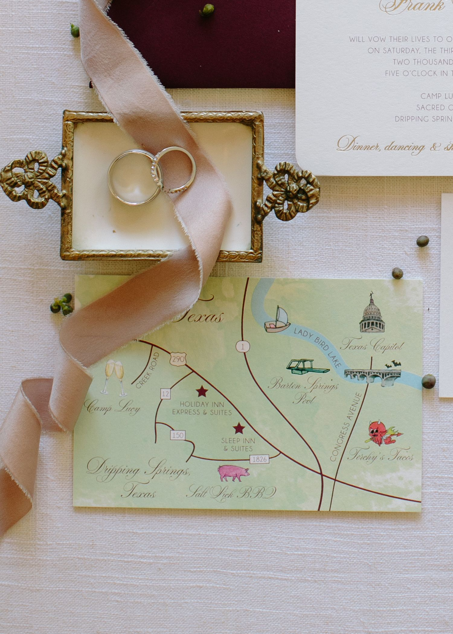 Watercolor Map Of Austin Texas For Wedding Invitation Suite By