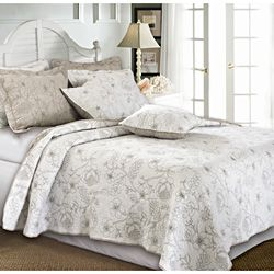 @Overstock - Unbelievably luxurious, this feather grey-colored quilt set is detailed with rich embroidery in a branch and hibiscus floral motif. Oversized for better coverage on today's deeper mattresses, the quilt also reverses to a coordinating solid color.http://www.overstock.com/Bedding-Bath/Hibiscus-Feather-Grey-Quilt-Set/6822321/product.html?CID=214117 $64.99