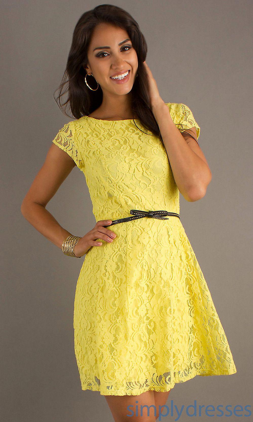 Short yellow lace dress wedding pinterest vestidos vestidos