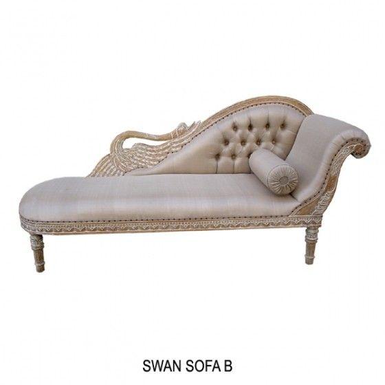 Www Deco Prive Com modèle cygne. méridienne en bois cérusé et tissus grège. http://www