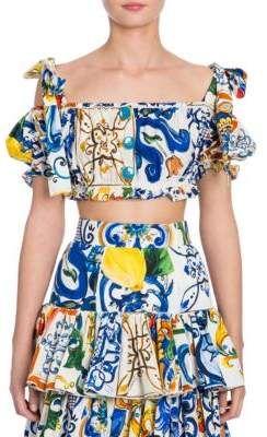 42ed7c8655f9c3 Dolce   Gabbana Maiolica Cotton Tie-shoulder Crop Top