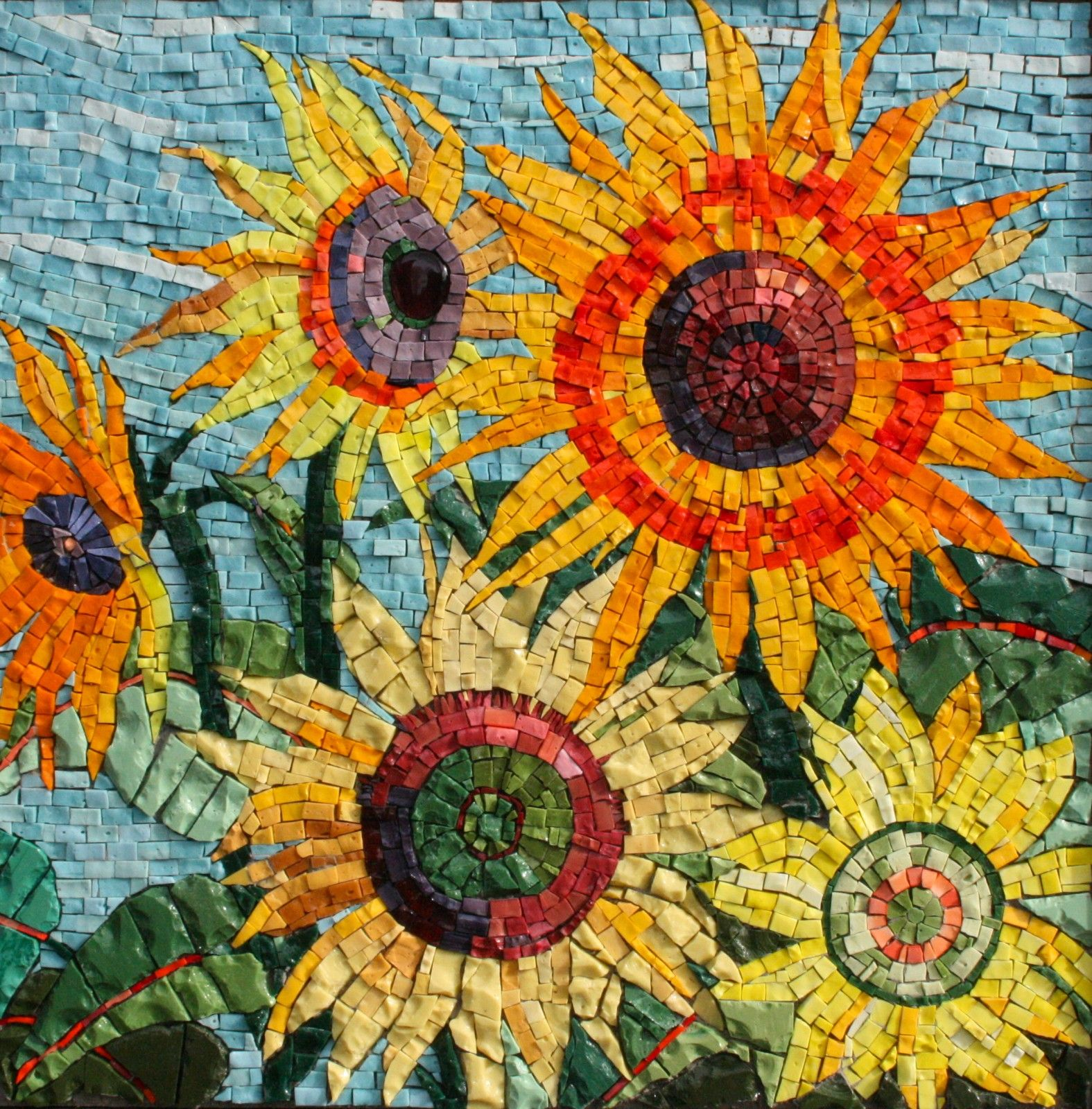 Sun flowers pamela stratton mosaic love pinterest for Mosaic art pictures