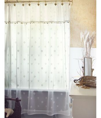 Seaside Lace Shower Curtain 7250 White Or Natural Matching Sheer