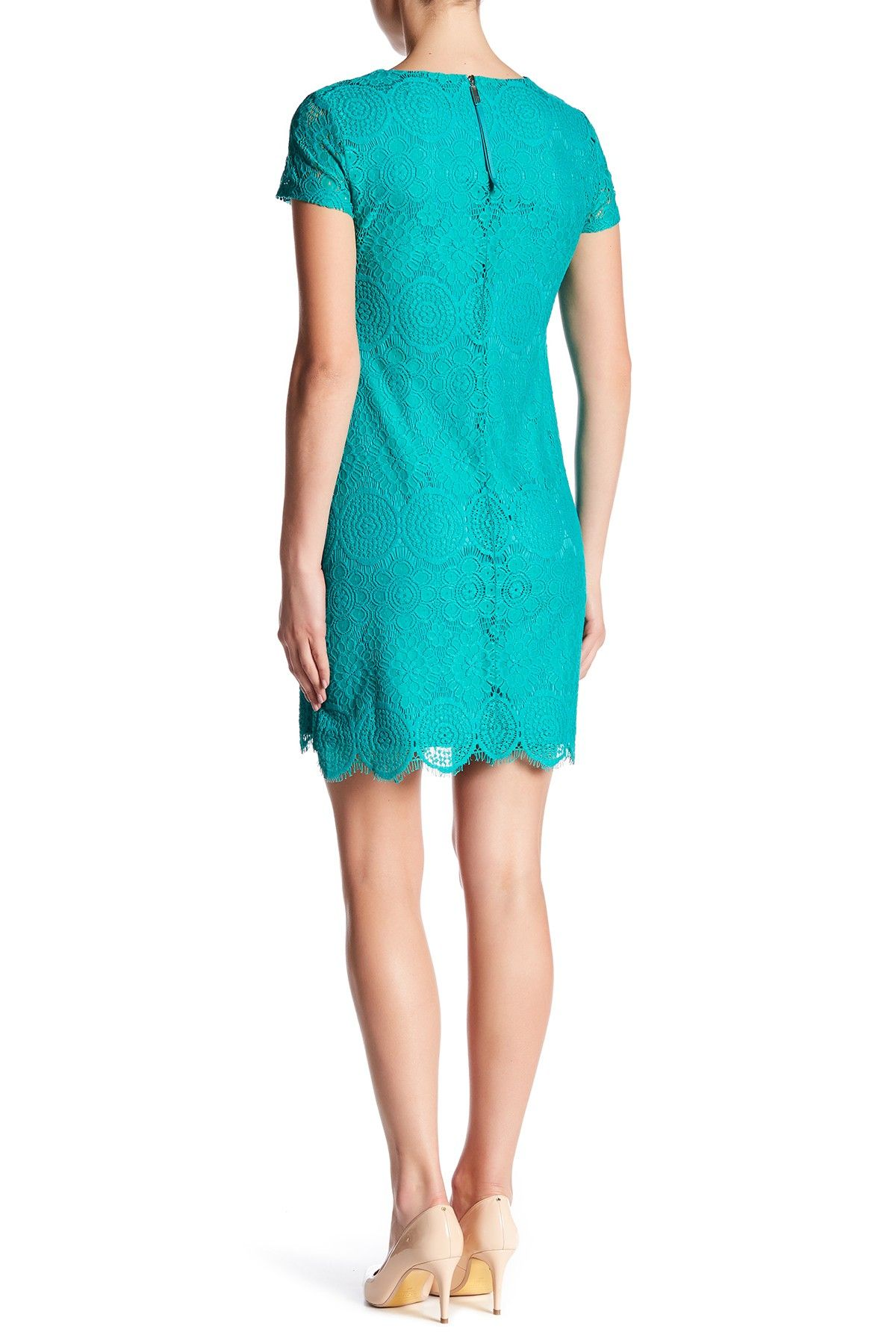 a5138a87456 Laundry By Shelli Segal | Short Sleeve Lace Shift Dress | Nordstrom Rack