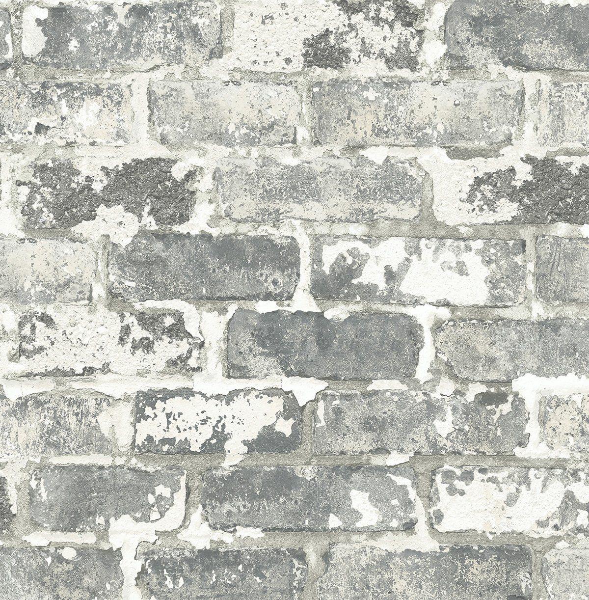 Sample Weathered Grey Brick Peel And Stick Wallpaper By Nextwall Peel And Stick Wallpaper Removable Brick Wallpaper Brick Wallpaper Peel And Stick