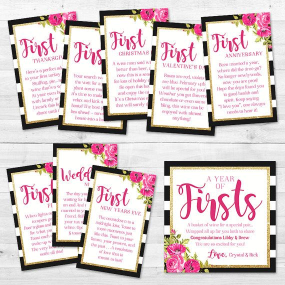 Wedding Night Basket Ideas: A Year Of Firsts Wine Gift Basket Tags By MintArrowDesigns