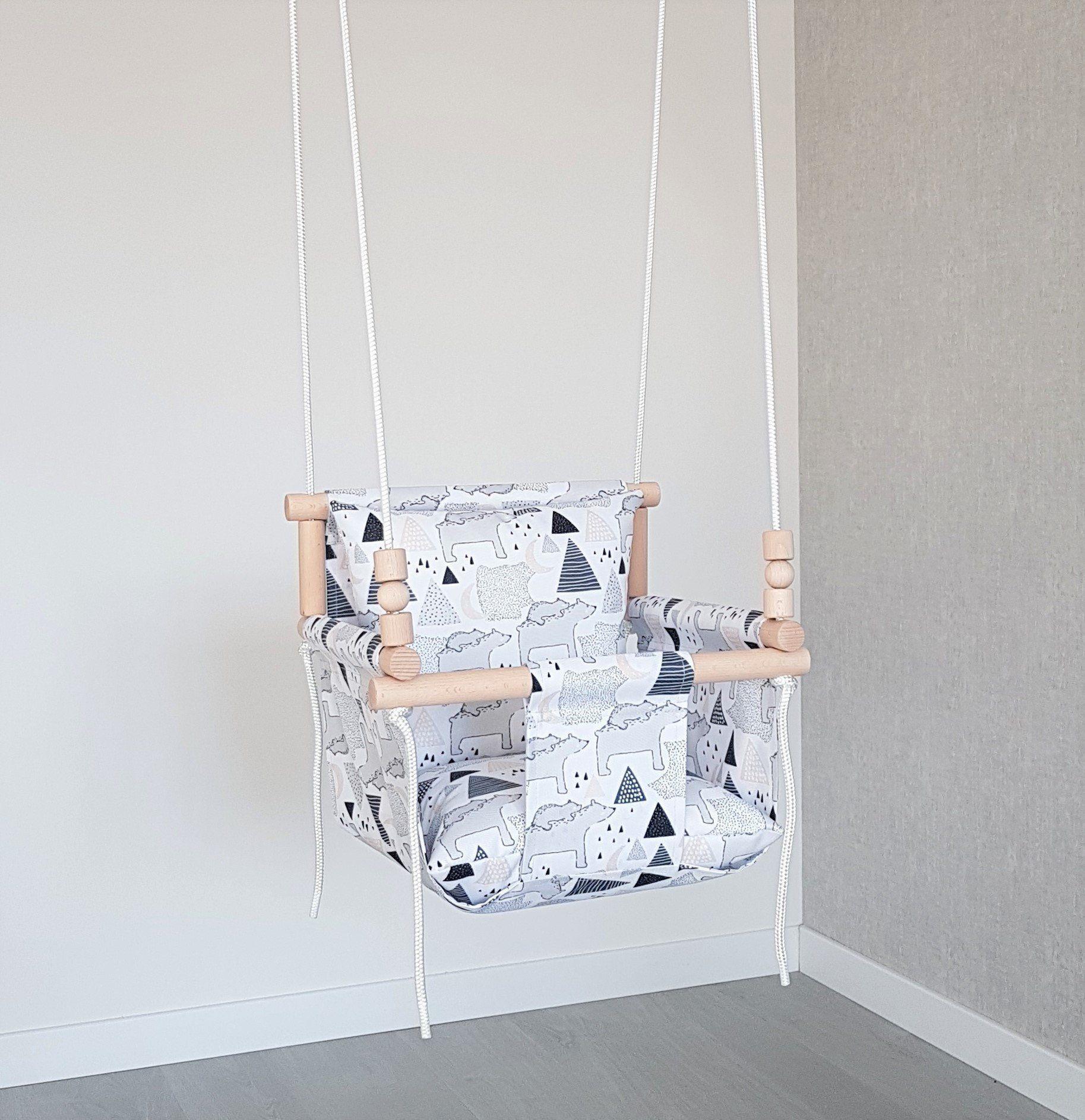 Weatherproof Comfortable Design Baby Swing Polar Bear Outdoor Indoor Swing Toddler Swing First Birthday Gift Chair Hammock Baby Swing Toddler Swing Baby Design Baby Swings
