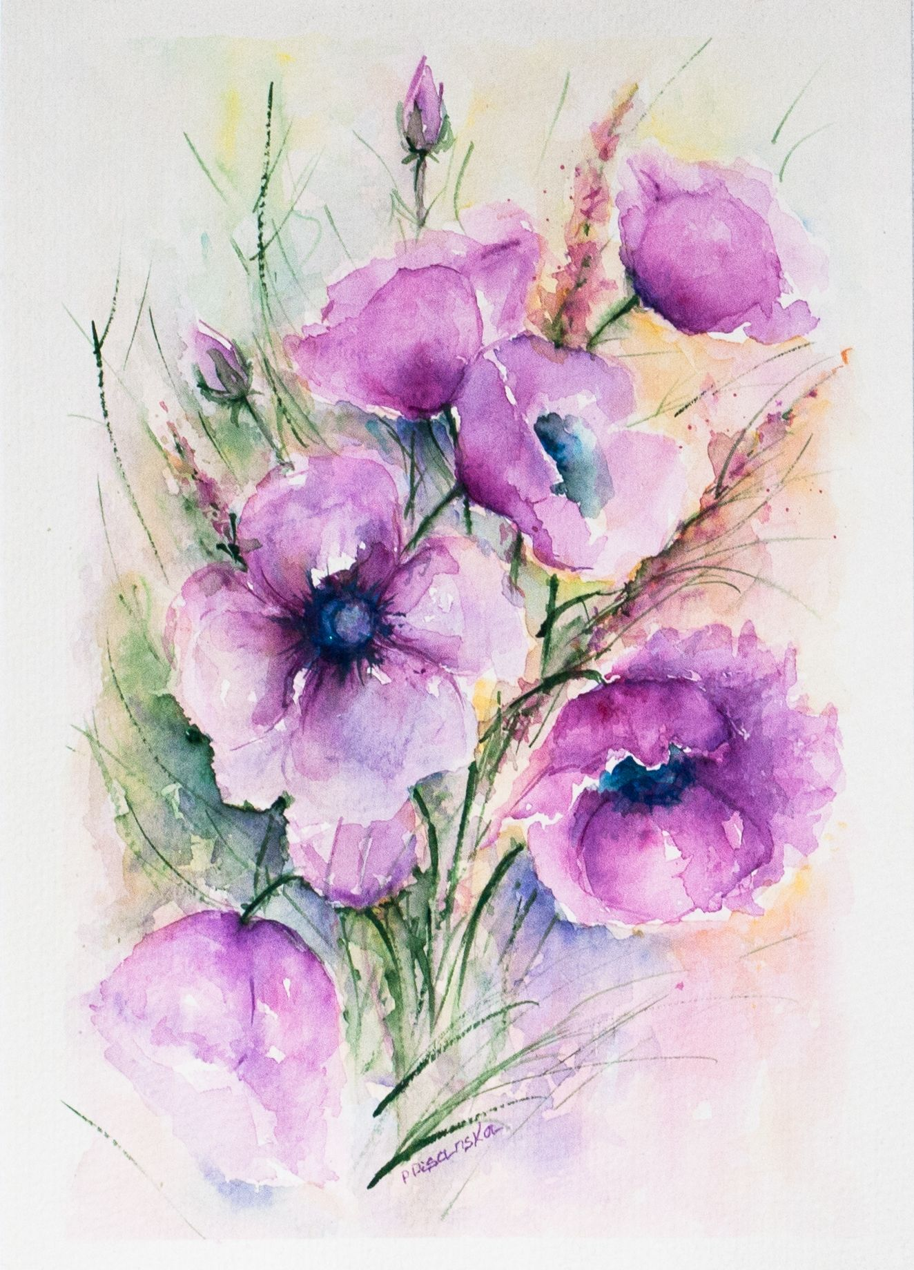 Purple Watercolor Flowers Floral Painting Flower Painting