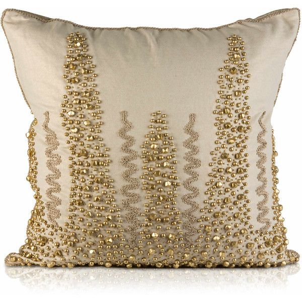Pyar Co Champaca Decorative Pillow 209 Liked On Polyvore Featuring Home Home Decor And Decorative Pillows Beaded Throw Pillows Embroidered Throw Pillows