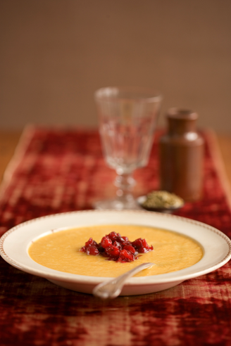 Pumpkin soup with cranberries