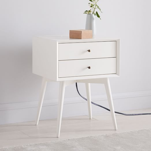 Best Mid Century Nightstand White Lacquer West Elm Bedside 400 x 300