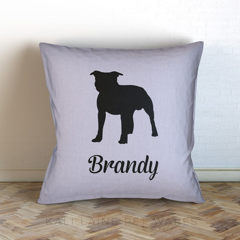 Personalized dog name decorative throw pillow staffordshire bull personalized dog name decorative throw pillow staffordshire bull terrier personalized choose color geenschuldenfo Images