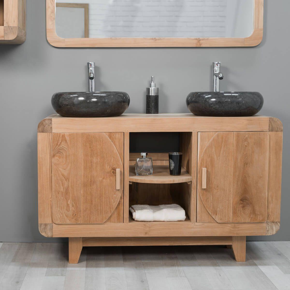 Meuble sous vasque (double vasque) en bois (teck) massif : rétro ...