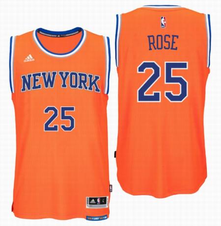 innovative design 30075 000b0 New York Knicks #25 Derrick Rose Orange Replica Jersey ...