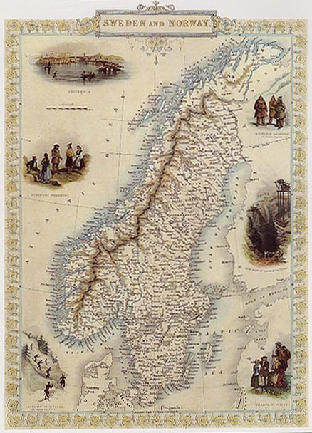 1800 S Map Sweden Norway Stockholm Baltic Travel Vintage Poster Repro 12 X16 Vintage Posters Norway Sweden