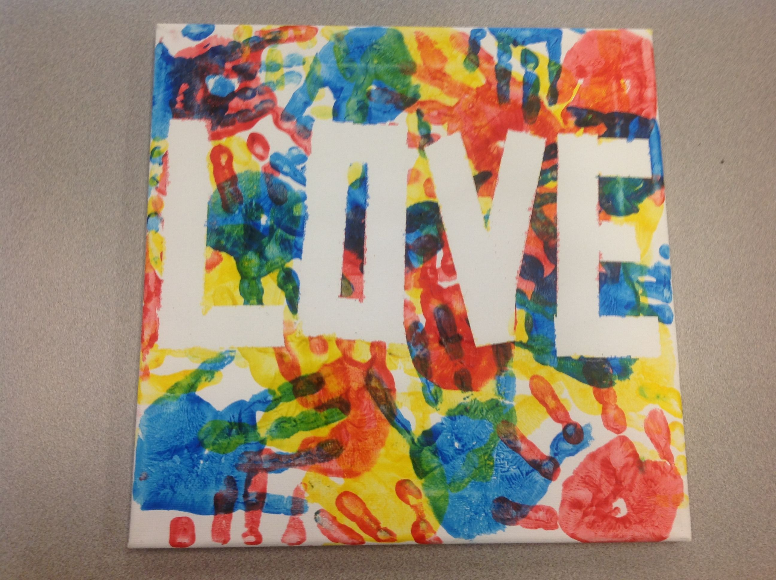 Canvas art made with painters tape and red blue yellow for Canvas painting classes