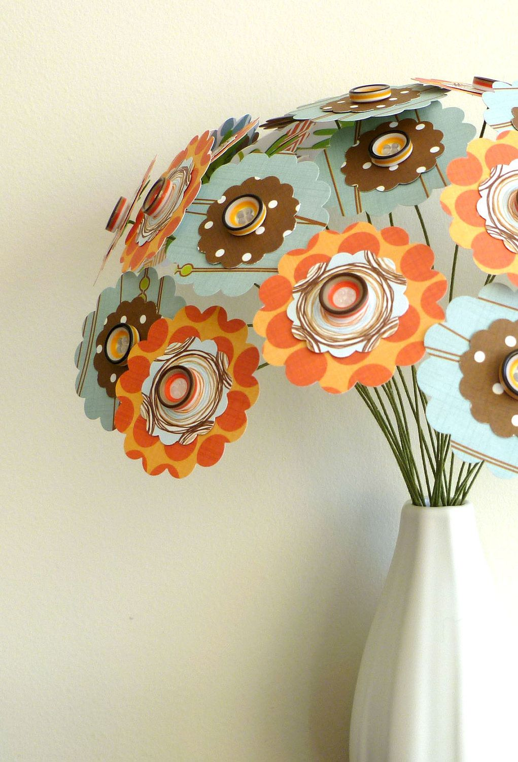 Paper Flower Bouquet Patterned Orange Blue And Brown 24 Stems 11