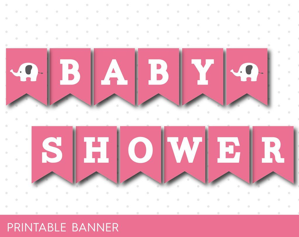 Pink Baby Shower Banner With Letters And Numbers Elephant Printable