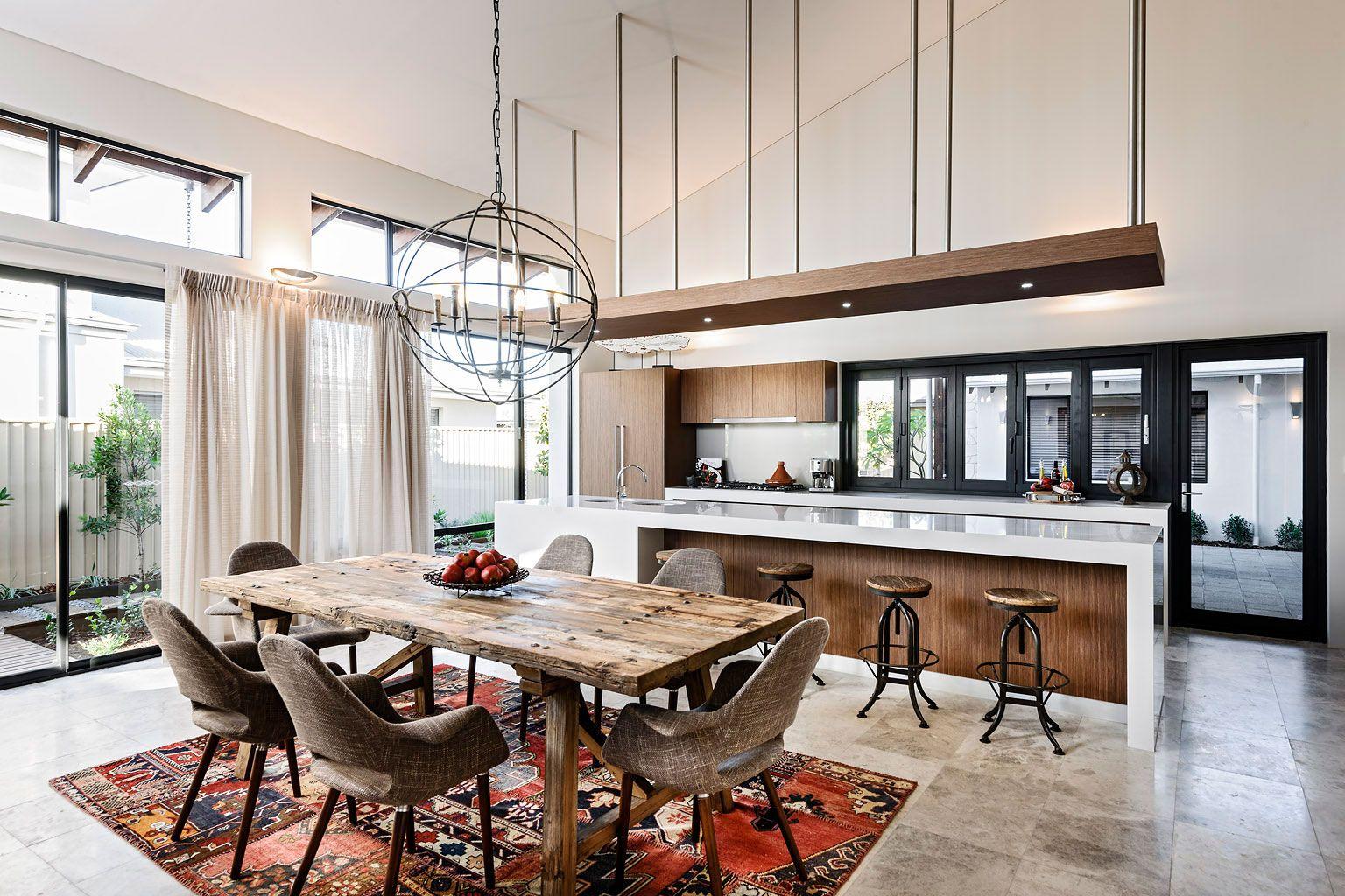 Сдержанная обеденная зона в кухне в стиле лофт | Кухня | Pinterest
