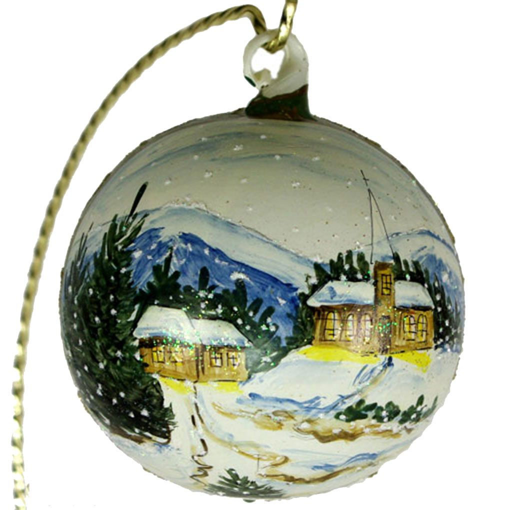 "Christmas Decorations In Switzerland: ""Swiss Winter"" Hand Painted Christmas Ball. Made In"