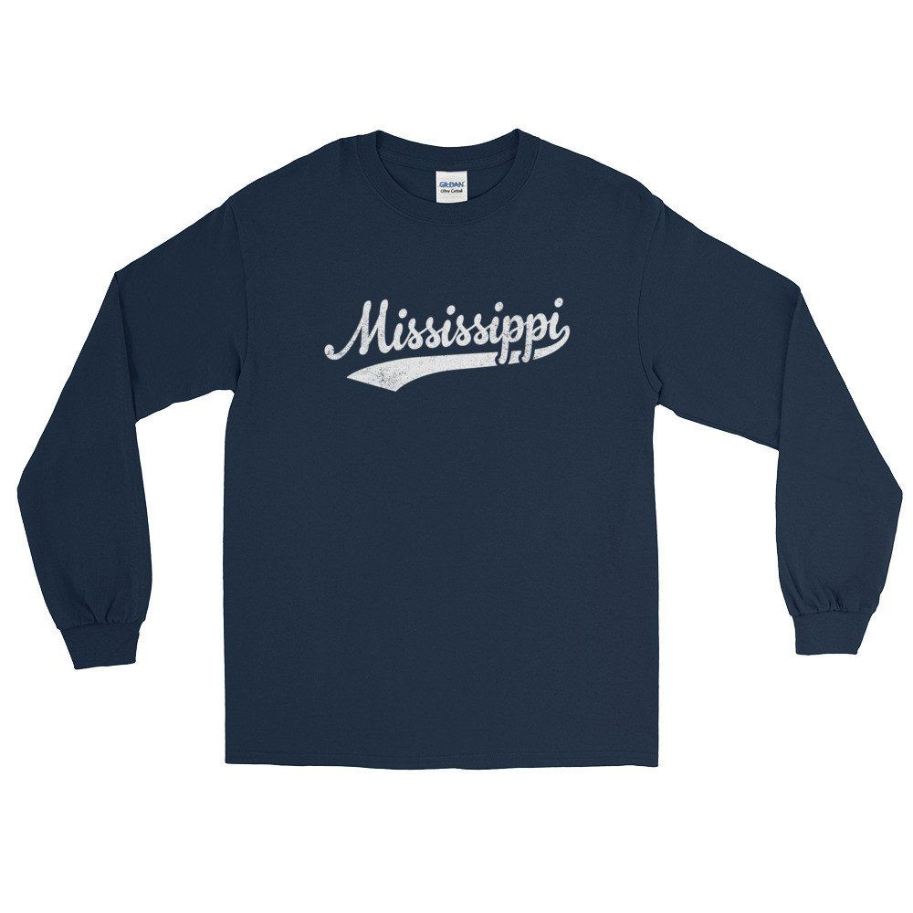Vintage Mississippi Ms Long Sleeve T Shirt With Script Tail Design