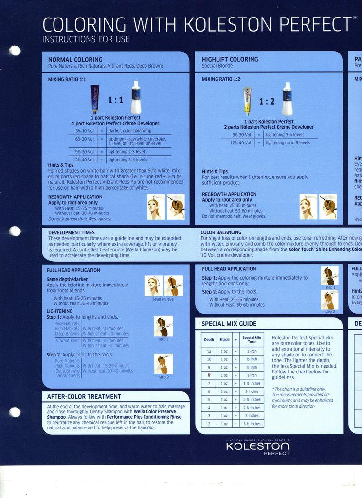Wella Koleston Prefect Color Instructions Wella Hair Color Wella Koleston Wella