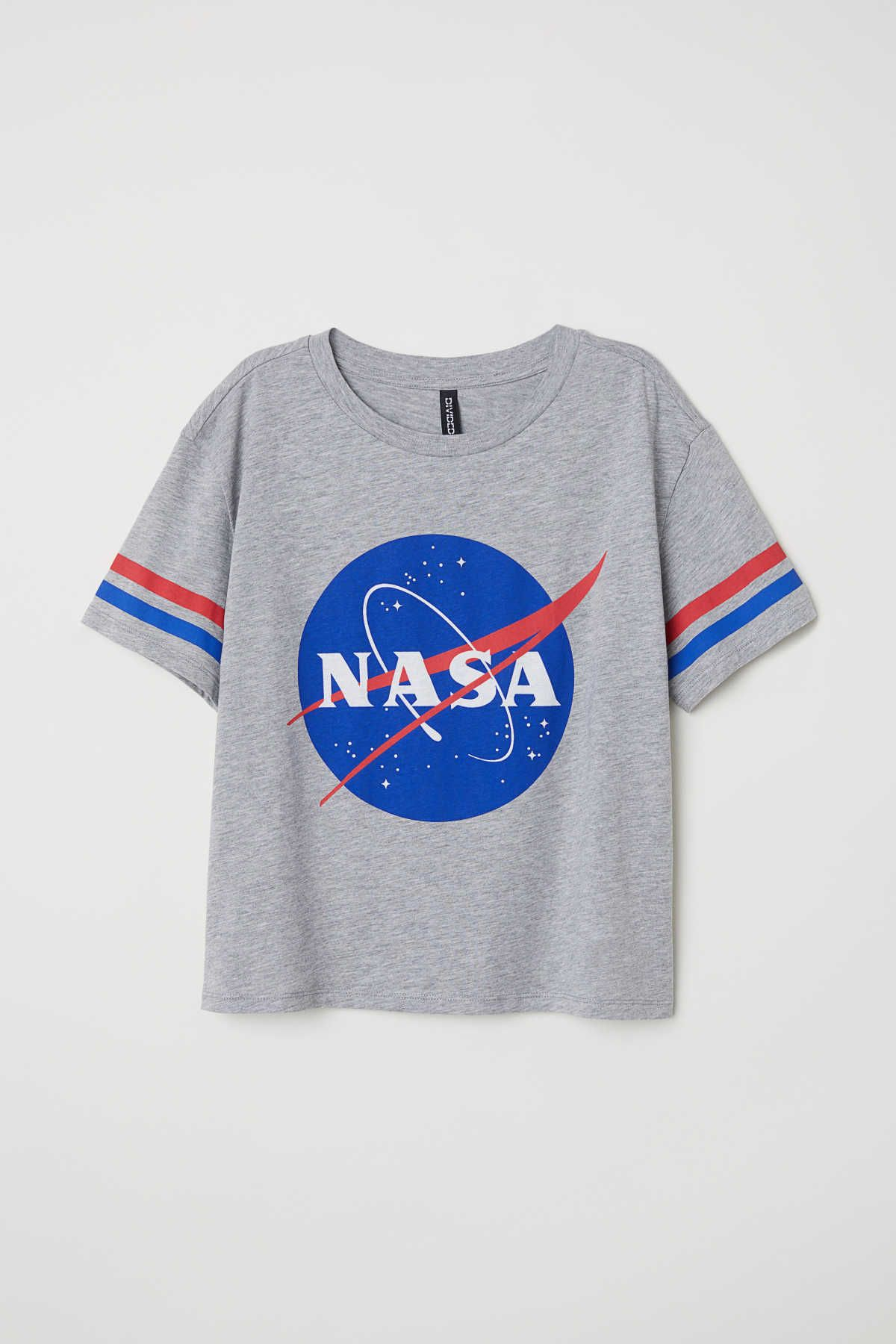 Gris jaspeado/NASA. Camiseta amplia en punto de algodón con estampado.