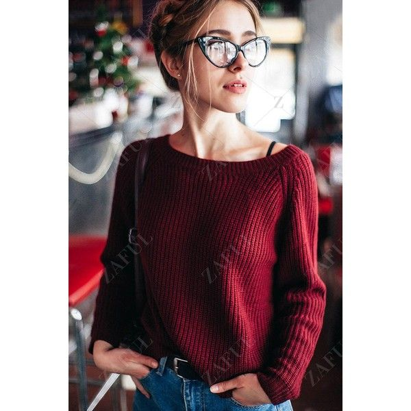 Boat Neck Loose Sweater (105 HRK) via Polyvore featuring tops, sweaters, bateau neck sweater, boat neck tops, loose sweater, loose fit sweater i cut loose tops