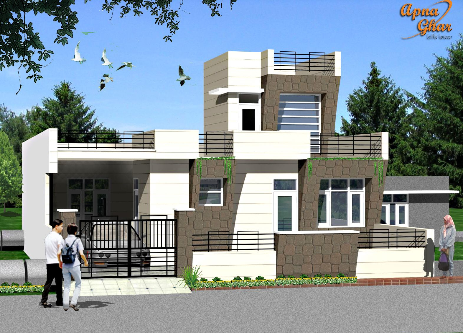 3 bedroom modern simplex 1 floor house design area for Single house front design