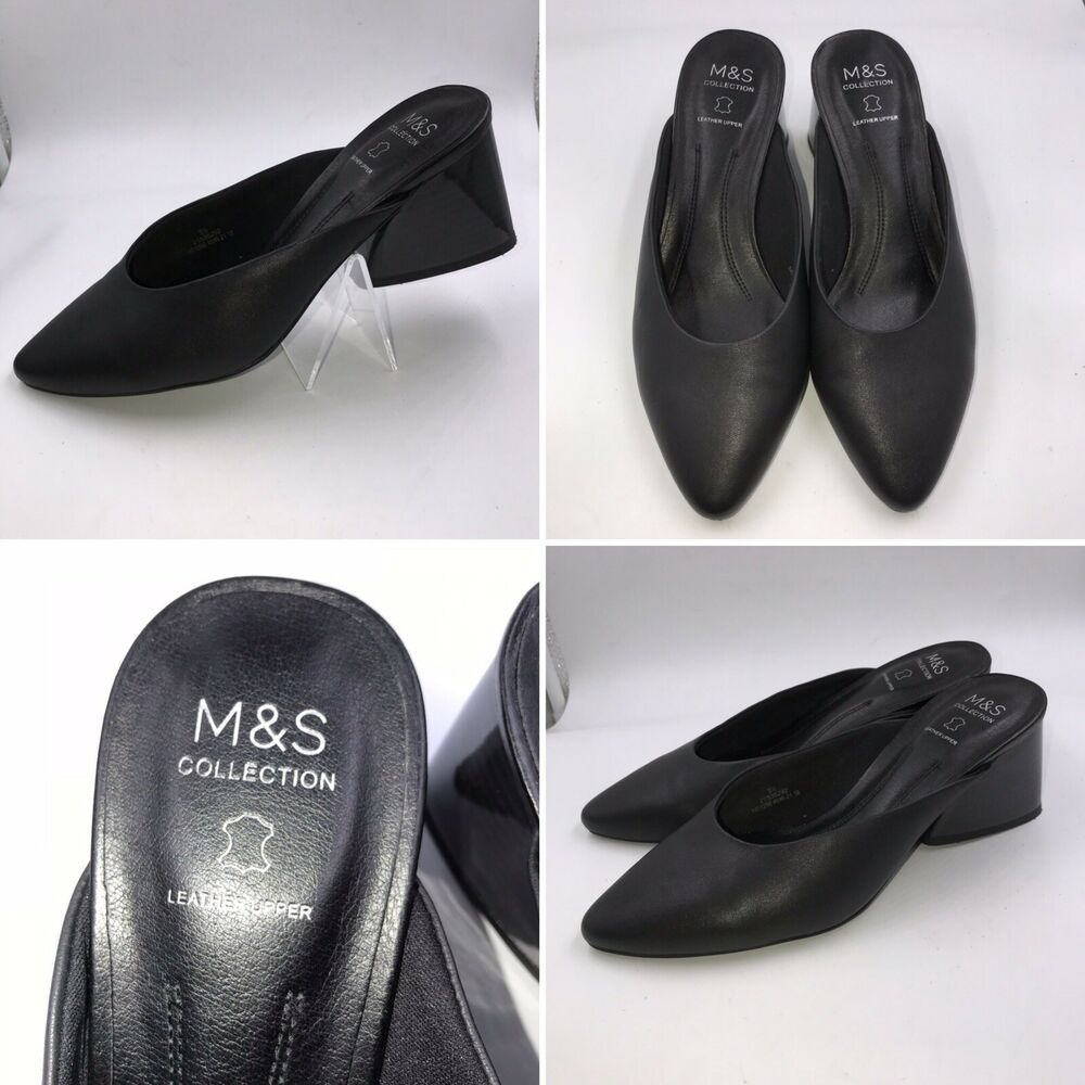 d17b41974 M&S Sz 5.5 38.5 Black Leather Block Heel Slip On Pointed Mules Sandals |  eBay