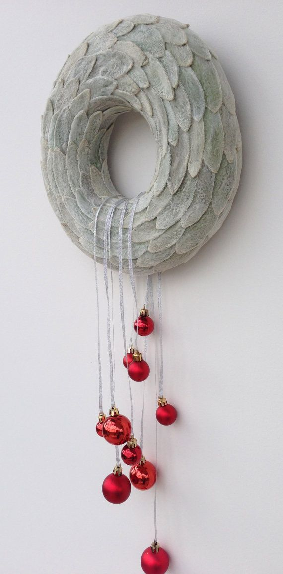 Items similar to Candle Ring Christmas decoration Home decor Christmas Wreath Winter Wreath Grey gray on Etsy
