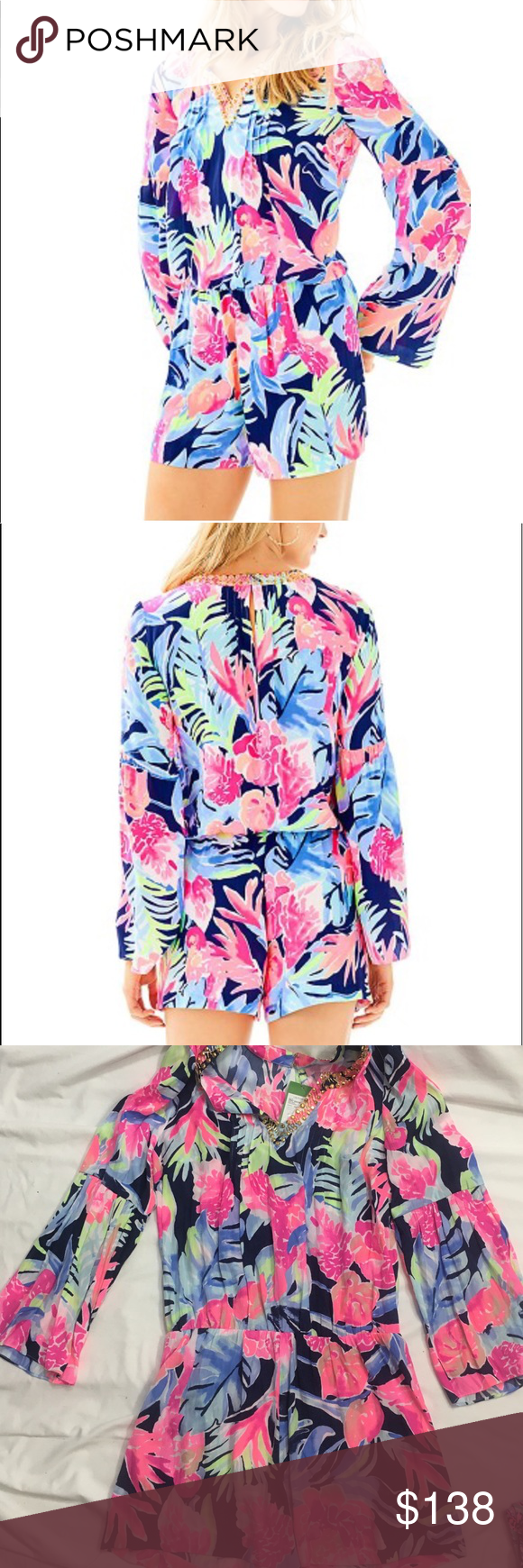 4cd59398be8f Lilly Pulitzer Arielle Romper Navy Tropicolada M Brand new with tags high  tide Navy Tropicolada Size Medium Retail  188 The Ariele printed romper is  a long ...
