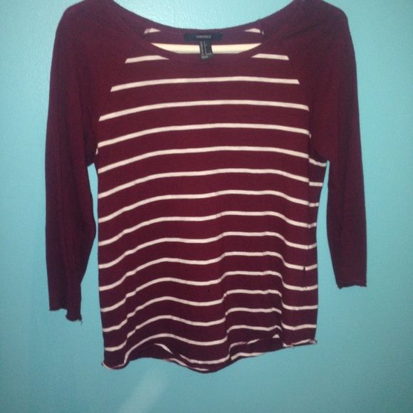 Maroon and white stripped top  Maroon and White stripped stop with maroon sleeves from Forever 21 .. No stains or tears super cute ✨ Forever 21 Tops Tees - Long Sleeve