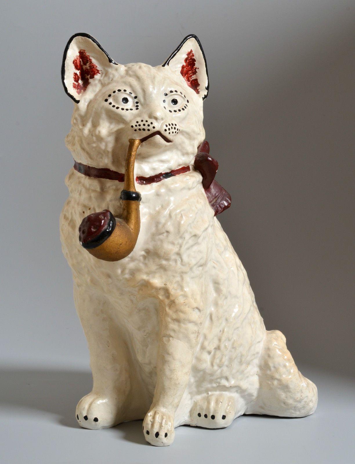 Vintage folkart cat chalkware