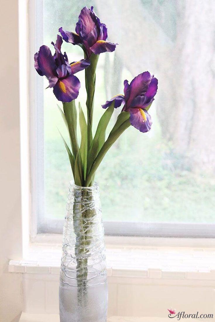 Single Stem Silk Iris In Purple4 Iris Faux Flowers And Artificial