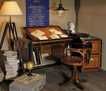 Nautical Folding Desk Office Style Bureau