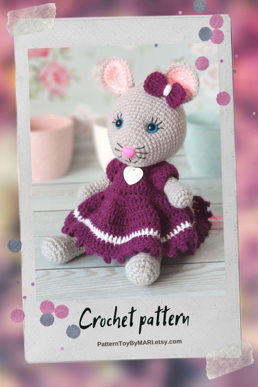 Crochet mouse in a dress - Pattern
