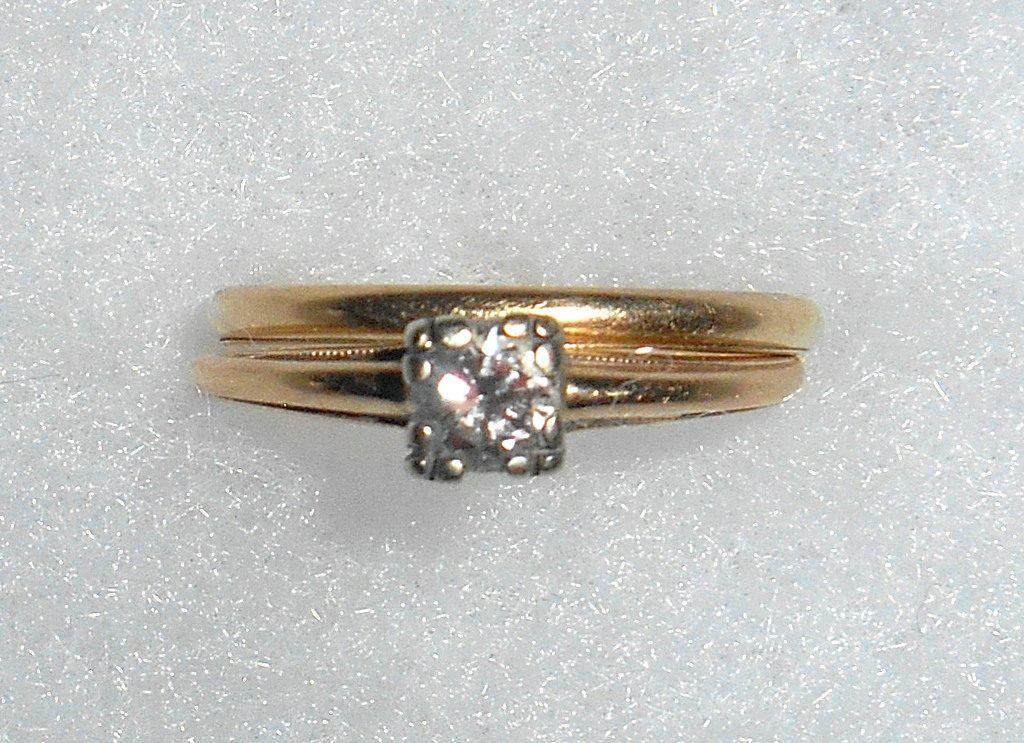 Vintage 1940s Wedding Engagement Ring Set 14 Ct Diamond 14K Yellow